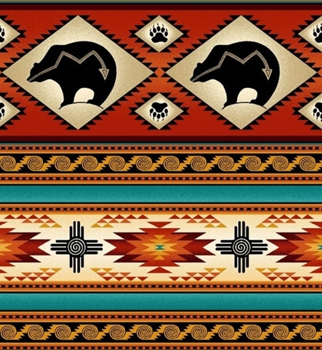 Tucson Southwest Aztec Indian Bear Stripe Terracotta Cotton Fabric