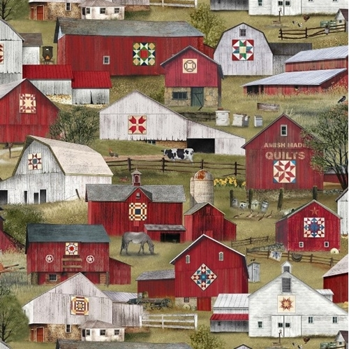 Headin Home Amish Barns Country Barn Hex Sign Cotton Fabric