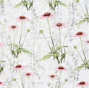 Flowering Herbs Cone Flower Echinacea Herb Names Thyme Cotton Fabric