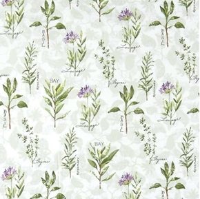 Flowering Herbs Spaced Herbs Basil Thyme Rosemary Bay Cotton Fabric