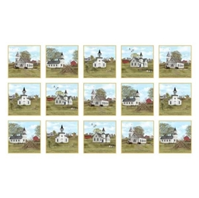 Picture of Amazing Grace Country Church and Bible Verse 24x44 Cotton Fabric Panel