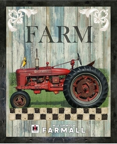Farmall Hometown Country Life Large Cotton Fabric Panel
