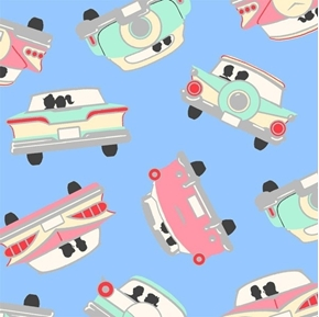 Going Steady Retro Couples Make-out in Vintage Cars Blue Cotton Fabric