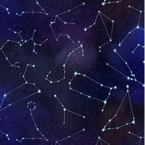 In Space Constellations and Stars on a Dark Night Sky Cotton Fabric