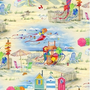 Beach Vista Seashore Ocean Kites Cabanas Umbrellas Cotton Fabric