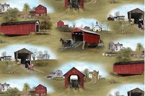 Picture of Headin' Home Amish Covered Bridges and Barns Scenic Cotton Fabric
