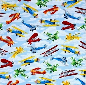 Propeller Planes Vintage Aircraft Antique Airplane Sky Cotton Fabric