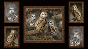 Nocturnal Wonders Barred Owl Picture Patches 24x44 Cotton Fabric Panel