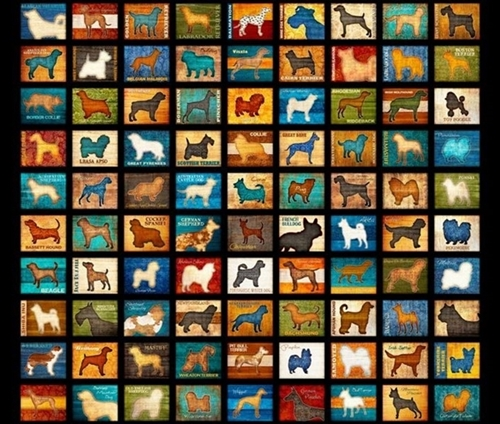 Must Love Dogs Dog Patch Dog Breed Blocks Black Cotton Fabric Panel
