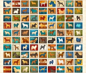 Must Love Dogs Dog Patch Dog Breed Blocks Beige Cotton Fabric Panel