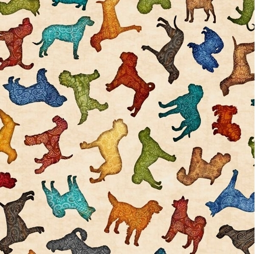 Must Love Dogs Dog Toss Decorated Silhouettes Beige Cotton Fabric