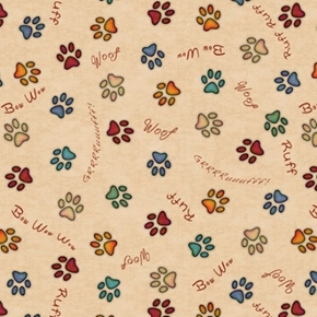 Must Love Dogs Paw Prints and Sounds Woof Bow Wow Tan Cotton Fabric