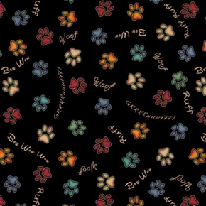 Must Love Dogs Paw Prints and Sounds Woof Bow Wow Black Cotton Fabric