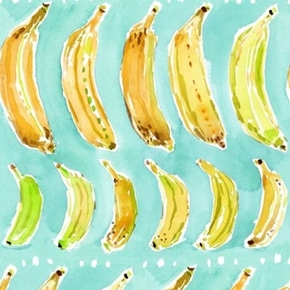 Wild and Fruity Bananas Yellow and Green on Aqua Cotton Fabric