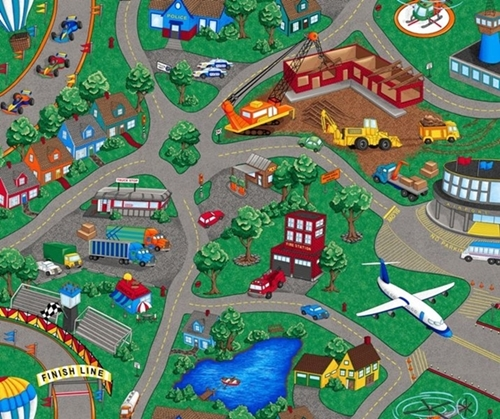 Sew N Go VII Childrens Playmat Town with Streets Cotton Fabric Panel