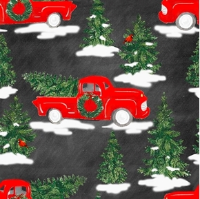 Picture of Holiday Red Trucks Christmas Trees Cardinals Truck Black Cotton Fabric