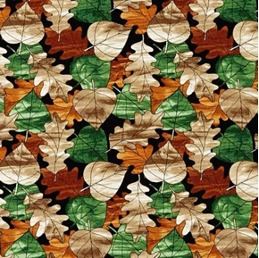 Mosaic Forest Autumn Leaves Stained Glass Cotton Fabric