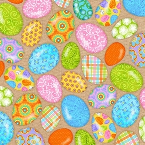 Carrot Patch Decorated Easter Eggs on Tan Cotton Fabric