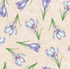 Forest Friends Crocus Flowers Purple Easter Flower Tan Cotton Fabric