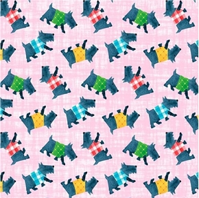Home Sweet Home Scottie Dogs with Sweaters Cotton Fabric