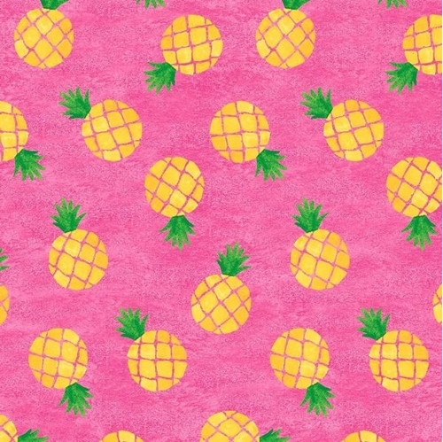 Home Sweet Home Pineapples on Pink Cotton Fabric