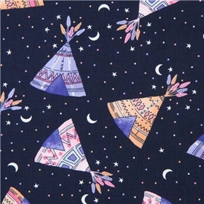 Teepees Native American Teepee Under the Night Sky Navy Cotton Fabric