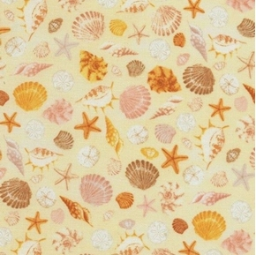 Shells Scallop Shell Conch Starfish Sand Dollars Yellow Cotton Fabric