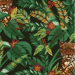 Leopards in the Jungle Leopard Cats Ferns on Black Cotton Fabric
