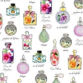Amour de Fleur Perfume Bottles French Cologne White Cotton Fabric
