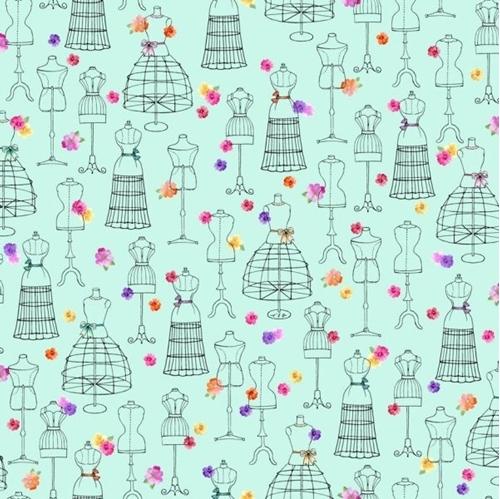Amour de Fleur Mannequins Dress Forms Aqua Floral Cotton Fabric