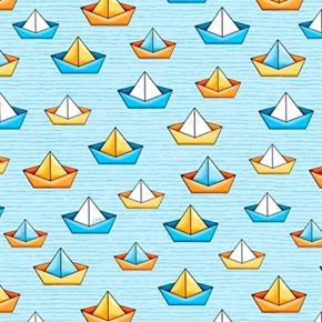 Picture of Quackers Sailboats Bath Time Toy Boats Light Blue Cotton Fabric