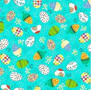 Happy Easter Tossed Easter Eggs Egg Cups Dots Aqua Cotton Fabric