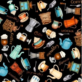 Café All Day Everything Coffee Espresso Cappuccino Black Cotton Fabric