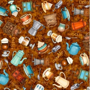 Café All Day Everything Coffee Espresso Cappuccino Rust Cotton Fabric