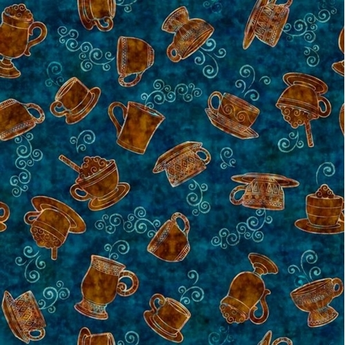 Picture of Café All Day Tossed Coffee Cups and Mugs on Dark Teal Cotton Fabric