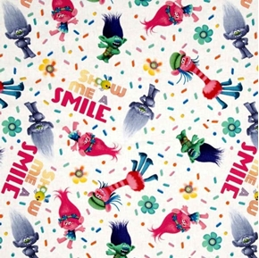 Picture of Trolls Show Me A Smile Dreamworks Animation Movie White Cotton Fabric