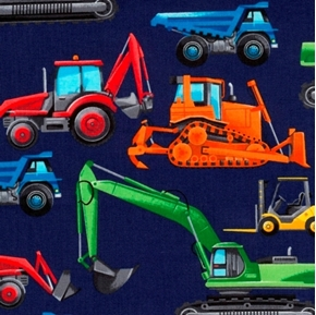 Construction Trucks Bulldozer Dump Truck Forklift Navy Cotton Fabric