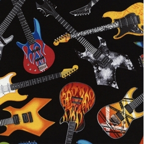 Tossed Electric Guitars Music Jamming Metal Band Black Cotton Fabric