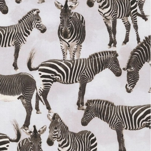 Zebras Black and White Zebra Animals on Grey Cotton Fabric