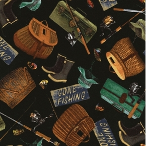Picture of Flannel Fishing Gear Creel Tackle Pole Gone Fishing Black Cotton Fabric