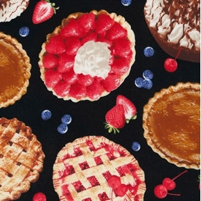 Picture of Tossed Fruit Pies Whole Pie Apple Pumpkin Chocolate Cotton Fabric