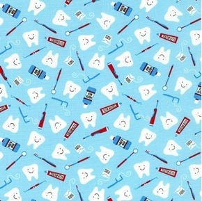 Picture of Clean Teeth Dentist Toothpaste Brush Dental Floss Blue Cotton Fabric