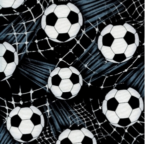 Picture of Soccer Balls Ball Kicked Into White Net on Black Cotton Fabric