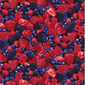 Picture of Mixed Berries Strawberry Raspberry Blueberry Blackberry Cotton Fabric