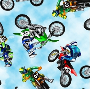 Motorbikes Motocross Stunt Bikes Motorcycles Blue Sky Cotton Fabric