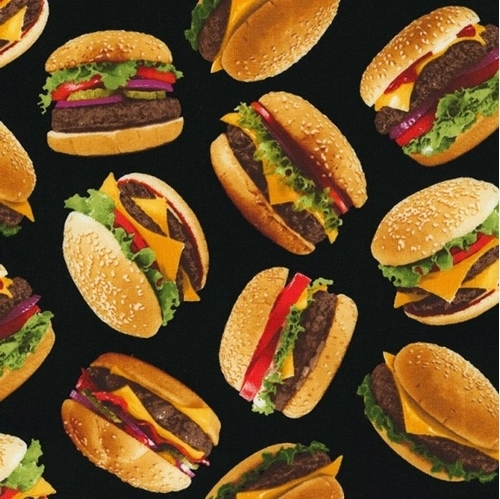 Picture of Tossed Burgers Cheeseburger Fixings Sesame Roll Black Cotton Fabric