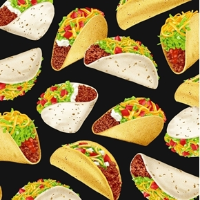Tacos Mexican Food Taco Meat Lettuce Tomato Cheese Black Cotton Fabric