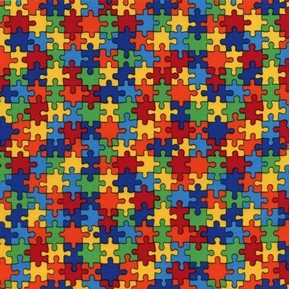 Multi Rainbow Puzzle Pieces Autism Symbol Cotton Fabric