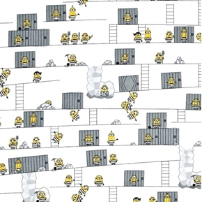 Despicable Me Best Family Ever Minions Escaping Jail Cotton Fabric