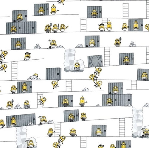 Picture of Despicable Me Best Family Ever Minions Escaping Jail Cotton Fabric